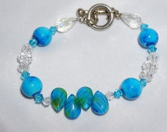 Turquoise Blue, Crystal and Glass, One of a kind, Bracelet,  Handcrafted Lightweight Jewelry, Toggle and Clasp, Glass Jewelry