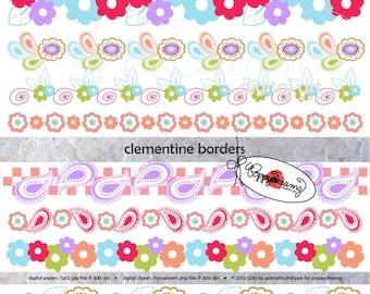 Clementine Borders: Clip Art Pack (300 dpi transparent png) Card Making Digital Scrapbook Page Border Pink Purple Blue Green