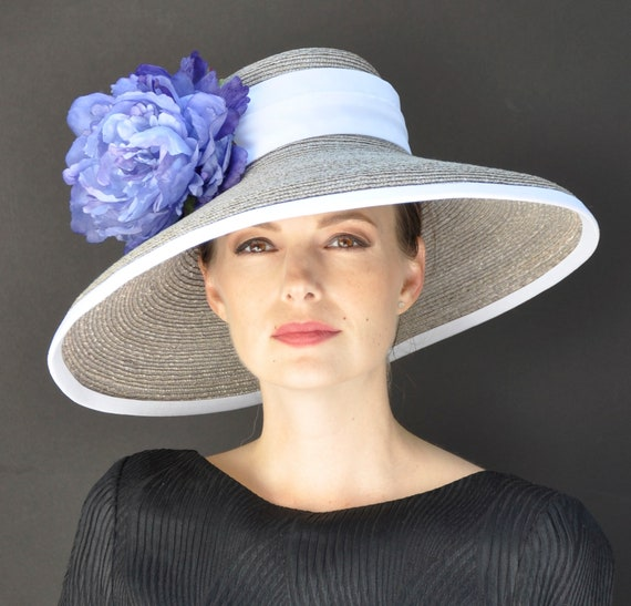 Formal Straw Hat, Women's Dressy Hat, Wedding Hat, Ascot Hat, Church Hat, Taupe Hat, Ladies Blue Hat, Special Occasion Hat