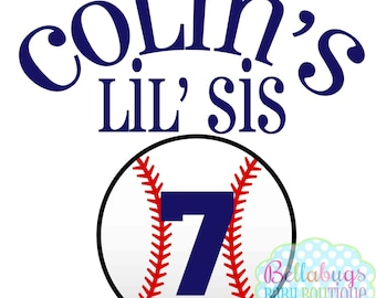 Baseball Little Sister PRINTABLE Digital Iron-On Transfer Design - Personalized - DIY - Do It Yourself
