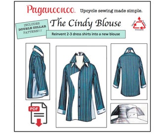 Cindy Blouse PDF sewing pattern & Double Collar. Tunic sewing pattern, womens sewing pattern, for, top pattern. Upcycle sewing pattern. Plus