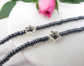 Beaded Glasses Chain in Silvery Black - Sunglasses Chain with Flowers - Eyeglass Holders Necklaces - Black Eyeglass Chain - Eye Glass Chain