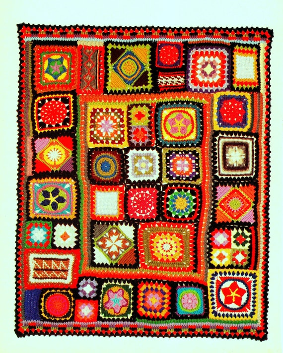 Vintage Crochet Pattern for Granny Square Sampler Afghan