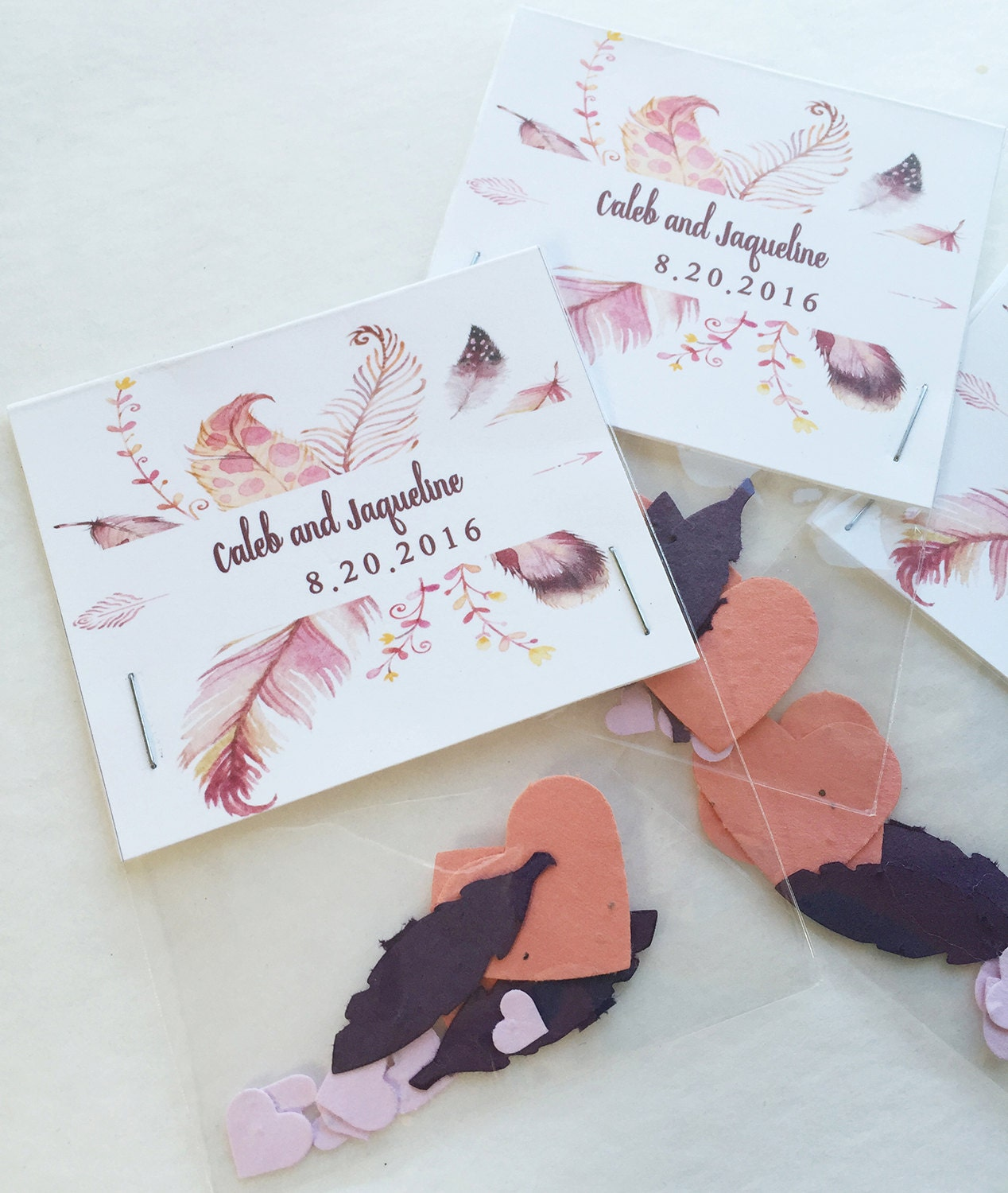 50 Feather Seed paper wedding favors plantable seed paper