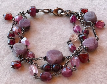Multistrand Tourmaline Bracelet, Rough Pink Sapphire & Sterling Silver Bracelet, Adjustable Chain Bracelet, Garnet Wire Wrapped Jewelry
