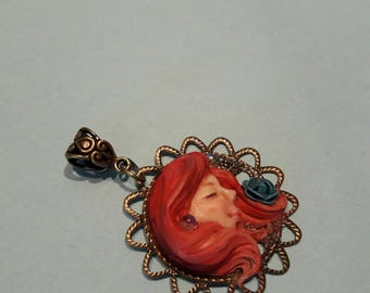 "Ooak decoration pendant ""Rouge"" Fantasy Fairy"