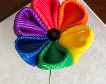 Handmade Rainbow Fabric Flower Boutonniere / Lapel Pin