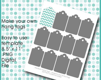 """Hang Tag Gift Template Collage Set PNG DIY Make Your Own Medium 2"""" x 3"""" Cards - Instant Download"""