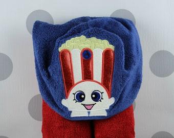 Kid's Hooded Towel - Shopkins Popcorn Hooded Towel – In Stock READY TO SHIP - Shopkins Popcorn Towel for Bath, Beach, or Swimming Pool