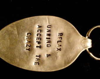Hand stamped antique spoon keychain