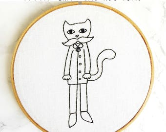 PATTERN: Cat in a Suit Hand Embroidery Pattern with Instructions