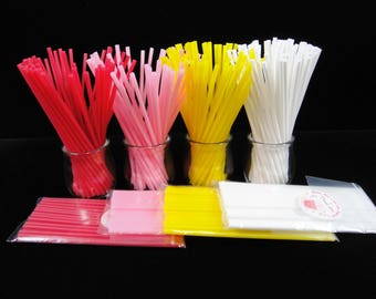 "Reusable Cake Pop Sticks, Red Lollipop Sticks, Pink Cake Pop Sticks, Yellow Plastic Cake Pop Sticks, Cake Pope Supplies, 6"" - Qty 25"
