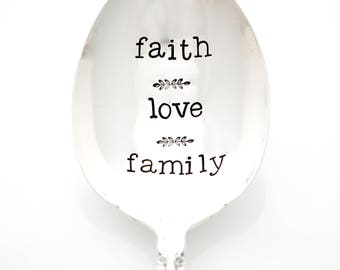 """Thanksgiving Table Decor. Hand stamped serving spoon, """"Faith Love Family"""". Casserole server."""