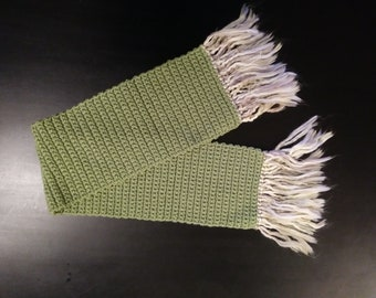 Handmade Olive Green/Multi-Colored Acrylic Scarf