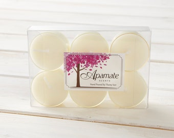 Soy wax tea lights with Citronella and Pine aromatherapy essential oils - tea light candles  - chilling & relaxing at home - indoors - out