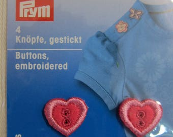 Embroidered buttons, 4 Pink Hearts Prym
