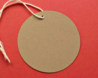 100 large circles round tags craft supplies kraft tags w twine hang tags gift tags blank tags clothing price tag merchandise tag product tag
