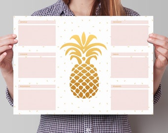 Weekly Planner Desk Pad A3, Desk planner sheets, Pineapple weekly planner, planning form, office deskpad, Gift for the boss, Coworker gift
