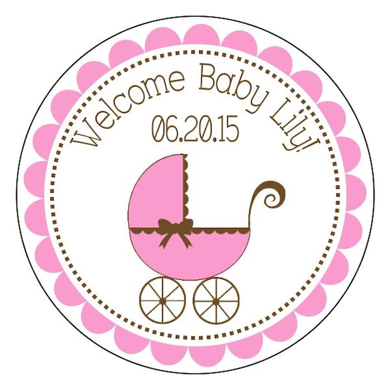 Baby Shower Labels, Baby Girl Stickers, Pink And Brown Baby Shower Stickers,  Pink Baby Shower Labels, 3 Sizes Available From Simplysweetpartyshop On  Etsy ...