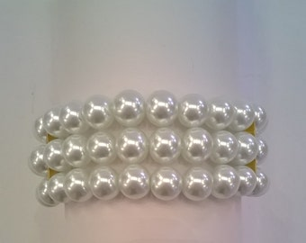 White Glass Pearl Bracelet - Three Strands of 6mm Faux Pearls with Goldtone Ends and Lobster Claw Clasp