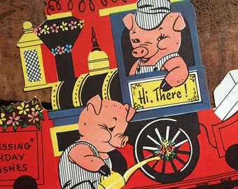 Vintage Pigs on a Train Birthday Stand Up Greeting Card - Unused