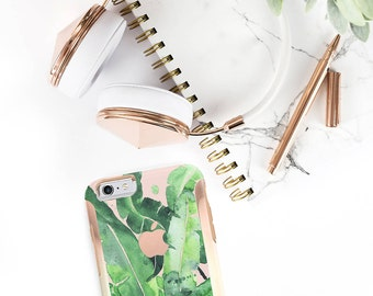 iPhone 8 Case iPhone 8 Plus Case iPhone X Banana Leaf and Rose Gold Hard Case Otterbox Symmetry