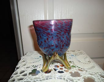 Blue and Red Pedestal Vase