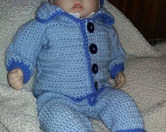 Baby boy blue bear layette set