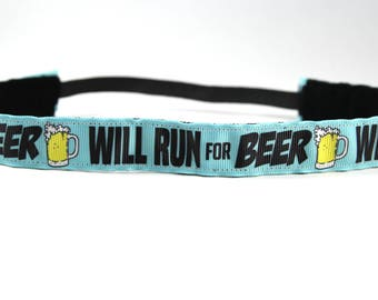 Will Run for Beer Headband, Gift for Runners, NonSlip Headband, Fitness Accessory, Sports Headband, Running Headband, Beer Lover