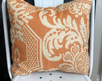 Orange and Cream Linen Pillow Cover