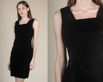 90s Low Back Velvet Dress - Medium // Vintage LBD Fitted Little Black Mini