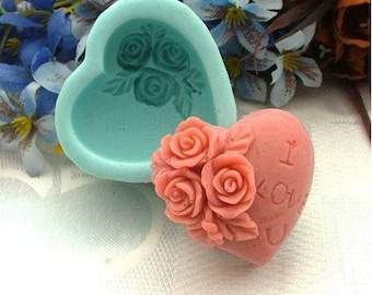Rose Heart Silicone Mold Silicone Mould Candy Mold Chocolate Mold Soap Mold Polymer Clay Mold Resin Mold R0227