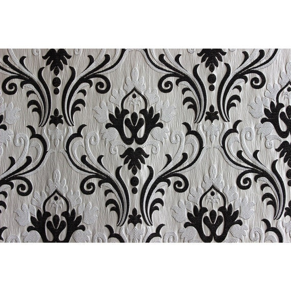 Ivory N Black Chenille Damask Upholstery Fabric Curtain Panels Drapery  Fabric Window Treatment Housewares Decor Home Living Fashion Fabric From  FabricMart ...