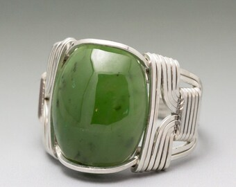 Nephrite Jade Sterling Silver Wire Wrapped Gemstone Cabochon Ring - Made to Order and Ships Fast!