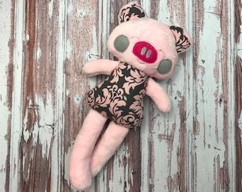 Handmade Pig - Toy Pig - Stuffed Pig - Stuffed Piggy - Piggy Softie - Stuffed Animal - Personalized - Gift for Kids - Christmas Gift
