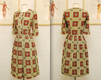 1950's/60's Red Accent Printed Party Dress / Mad Men / Rare Collectible Retro
