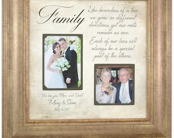 Parent Wedding Gift, Father of the Bride Groom Gift, Wedding Frame Sign Personalized Frame Mother Father, FAMIly, 16 X16