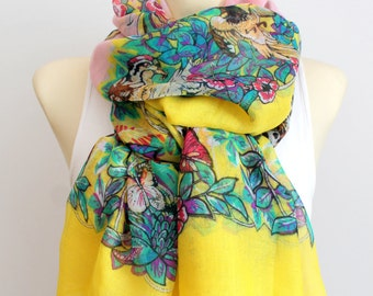 Mustard Yellow Scarf Women Long Bohemian Scarves Butterfly Scarf Women Spring Scarf Leopard Print Scarf Gifts for Mom Gift Mothers Day Gift