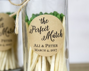 The Perfect Match Labels - Wedding Favor Labels - Match Wedding Favor Labels - Custom Wedding Stickers -1.25 inch labels