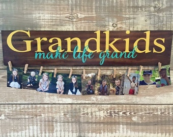 """SET OF 2! Perfect for Grandparent's!! Grandkids """"Make life Grand"""" wall hanging on Distressed wood"""