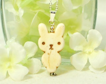 White Rabbit Necklace Whitey - Kawaii Bunny- Rabbit Necklace- Bunny Pendant- Rabbit Jewelry- Bunny Jewelry- Cute Bunny- Gift for Daughter