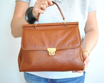 Vintage PICARD LEATHER HANDBAG , women's leather bag...........(593)