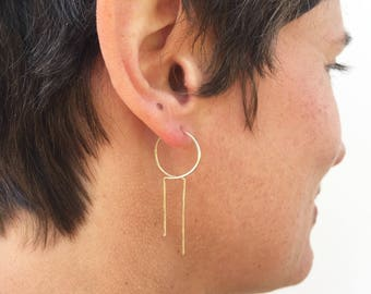 Lightweight earrings, threader hoops, unique design, Art Deco earrings, thin gold hoops, gold fill hoops, unique hoops, lightweight hoops
