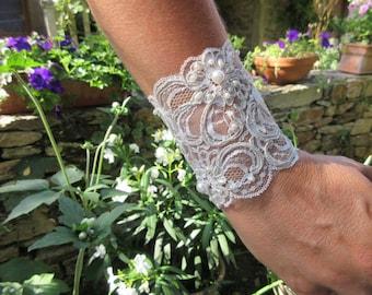 Bridal lace Cuff Bracelet beads