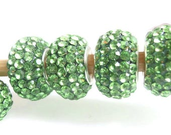 1 Green color European Style Grade A Rhinestone Bead, Jewelry Making Supply, silver color Brass core, Resin, Rondelle shape