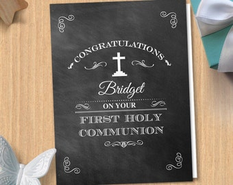 Chalkboard First Holy Communion Greeting Card, Editable PDF Instant Download