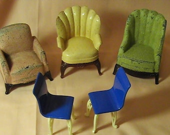 Very Rare Plasco Dollhouse 2 Armchairs, Renwal Wing Chair, 2 Patio Chairs Made in USA, Size 1:16