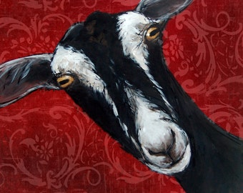 British Alpine Goat Greetings Card, with patterened wallpaper background