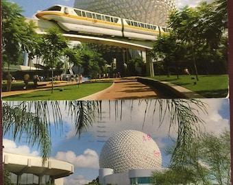 APRILSALE Vintage two (2) 1980s Walt Disney World Epcot Center used postcards
