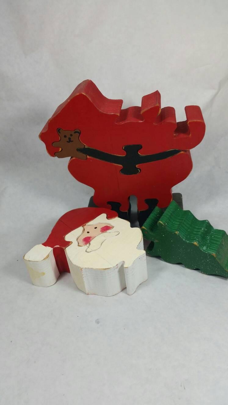 Santa Puzzle Christmas Decor Santa Claus Holiday Toy Wood